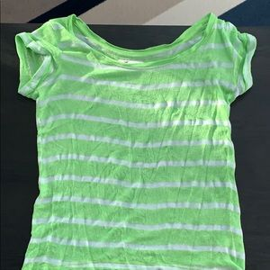 Hollister Green and White Striped T-Shirt